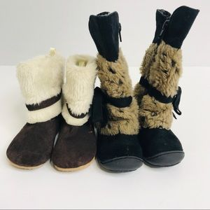 Other - 2 Pair Little Toddler Girls Fur Boots Size 6